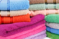 Towels. Colorful towels stacks closeup picture Stock Photos