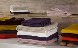 Towels. Colourful towels placed on top of one another Royalty Free Stock Photography