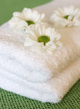 Towels and daisy flowers Royalty Free Stock Photos