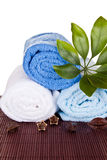 Towels  decorated with beans and plant Royalty Free Stock Photo
