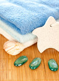 Towels with decoration Stock Image