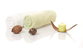 Towels and decoration Royalty Free Stock Images