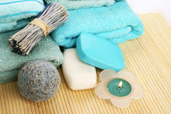 Towels and decoration Royalty Free Stock Photography