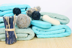 Towels and decoration Stock Photography