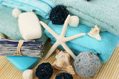 Towels and decoration Royalty Free Stock Photo