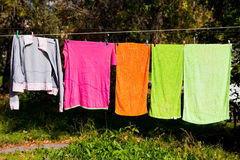 Towels drying on the clothesline Royalty Free Stock Photography