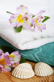 Towels and floral decoration in spa Stock Image