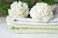 Towels with flower Stock Image