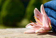 Towels with flower Stock Photography