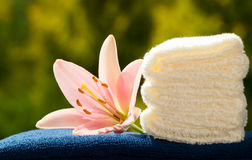 Towels with flower Stock Photos