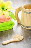 Towels flower hairbrush and mug Royalty Free Stock Images