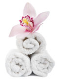 Towels and flower isolated Royalty Free Stock Photography