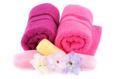 Towels, flowers and soaps Stock Photography