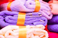 A pair of towels as a gift royalty free stock photos