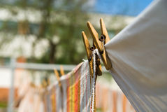 Towels that hang on a rope Royalty Free Stock Image