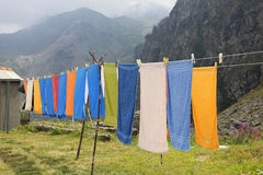 Towels hanging in mountain. Towels hanging in the mountain Stock Photography