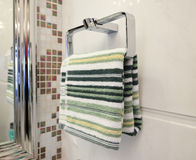 Towels hanging on the wall Stock Photo