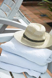 Towels and hat Royalty Free Stock Photo