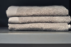Towels in hotel room Royalty Free Stock Image