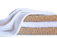 Towels isolated on a white background Stock Photo