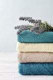 Towels with lavender Stock Photos