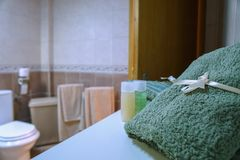 Towels left on the dash in the bathroom royalty free stock photos