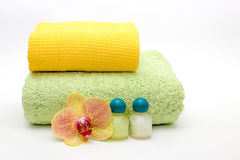 Towels on a light background. Stock Photos