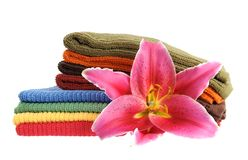 Towels and lily Royalty Free Stock Photo