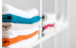 Towels in the linen closet Stock Image