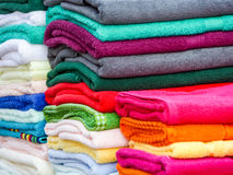 Towels in lots of sizes, styles and colors Royalty Free Stock Photo
