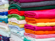 Towels in lots of sizes, styles and colors Royalty Free Stock Images