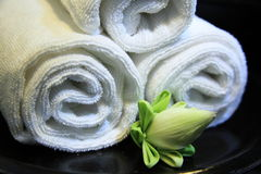 Towels. And lotus flower in resort hotel Stock Images