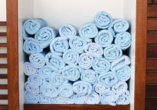 Towels. Many folded towels by the pool at a resort Stock Photos