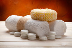 Towels and massage sponge Royalty Free Stock Image