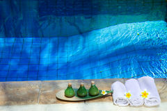 Towels and means for Spa of leaving on the brink o Royalty Free Stock Photography