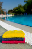 Towels near the swimming pool Royalty Free Stock Images
