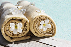 Towels near the swimmingpool Royalty Free Stock Images