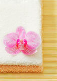 Towels and orchid flower Royalty Free Stock Photo