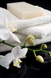 Towels with orchid and soap. White towels with orchid and soap on black bacground, mirrored stock photo