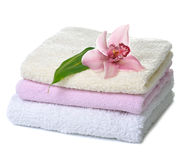Towels with orchid Stock Photography