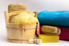 Towels and other personal hygiene items Royalty Free Stock Images