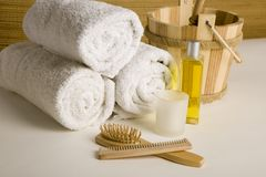 Towels and other spa products Stock Images