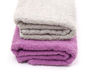 Towels and piece of soap Stock Photos