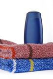 Towels and plastik bottle Stock Image