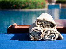 towels at the poolside Royalty Free Stock Photography