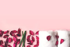 Towels, potpourri and scented sticks on pink background with cop. Y space for your text; wellness or spa background stock photos