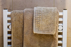 Towels on Radiator Stock Photo