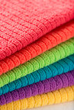 Towels in rainbow colors (yellow, purple, blue, green, orange, r Royalty Free Stock Photos
