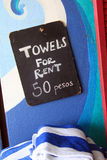 Towels for rent Royalty Free Stock Photo