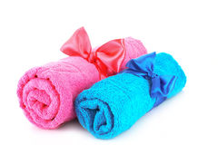 Towels and ribbons Stock Photo